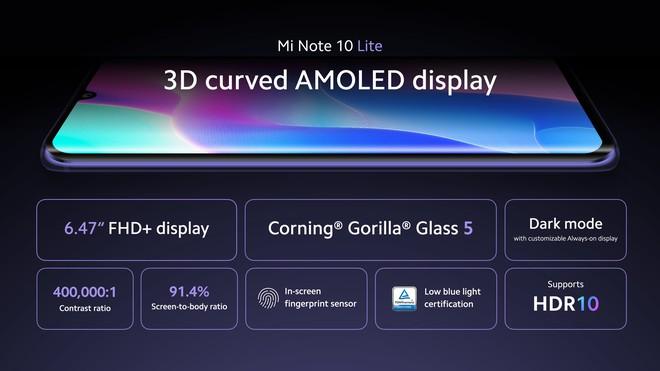 Xiaomi Mi Note 10 Lite ra mắt: Snapdragon 730G, 4 camera 64MP, sạc nhanh 30W, giá từ 9 triệu đồng - Ảnh 2.