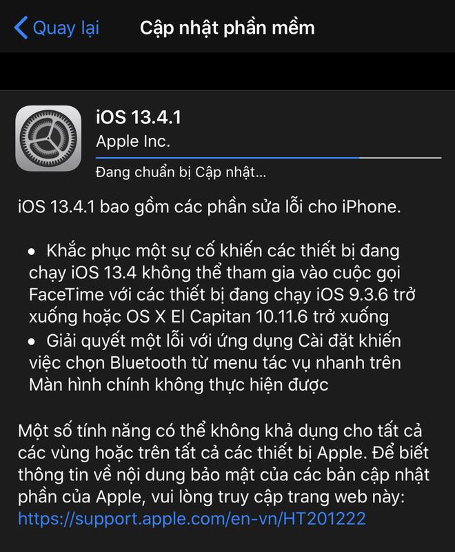 Apple tung ra iOS 13.4.1, sửa lỗi quan trọng trên iPhone và iPad - Ảnh 1.