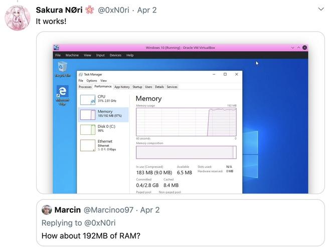 Thiếu niên 16 tuổi chạy thành công Windows 10 với chỉ 192MB RAM - Ảnh 3.