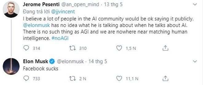 Bị giám đốc AI của Facebook chê là thiếu hiểu biết về trí tuệ nhân tạo, Elon Musk đáp trả kiểu cãi cùn: Facebook dở ẹc - Ảnh 1.