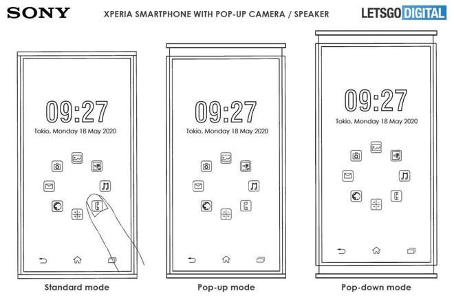 Sony đăng ký bằng sáng chế smartphone Xperia thò thụt cả trên lẫn dưới - Ảnh 1.