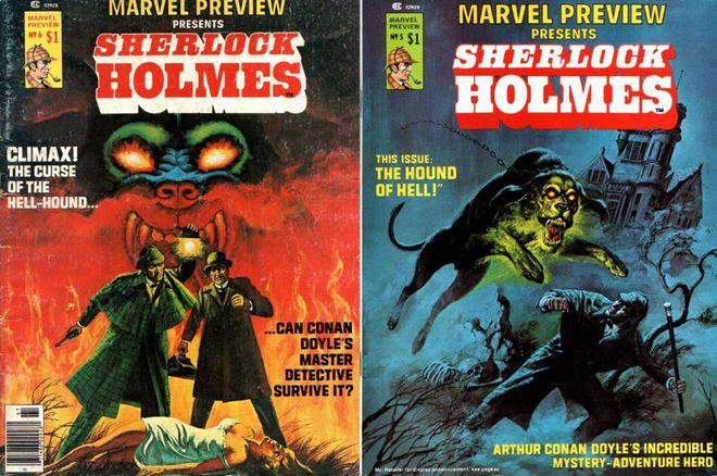 Sherlock Holmes và bác sĩ Watson dưới nét vẽ của Marvel Comics.