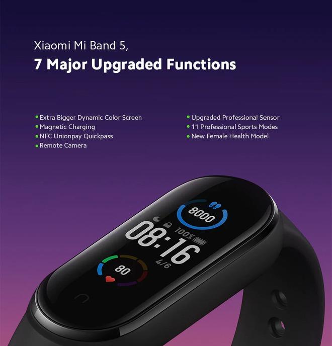 Xiaomi Mi Band 5 ra mắt: Màn hình lớn hơn, hỗ trợ hình nền động, sạc nam châm, pin 14 ngày, giá 620.000 đồng - Ảnh 6.