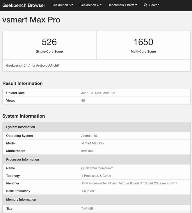 Vsmart Max Pro lộ diện với chip Snapdragon 730, RAM 8GB - Ảnh 1.