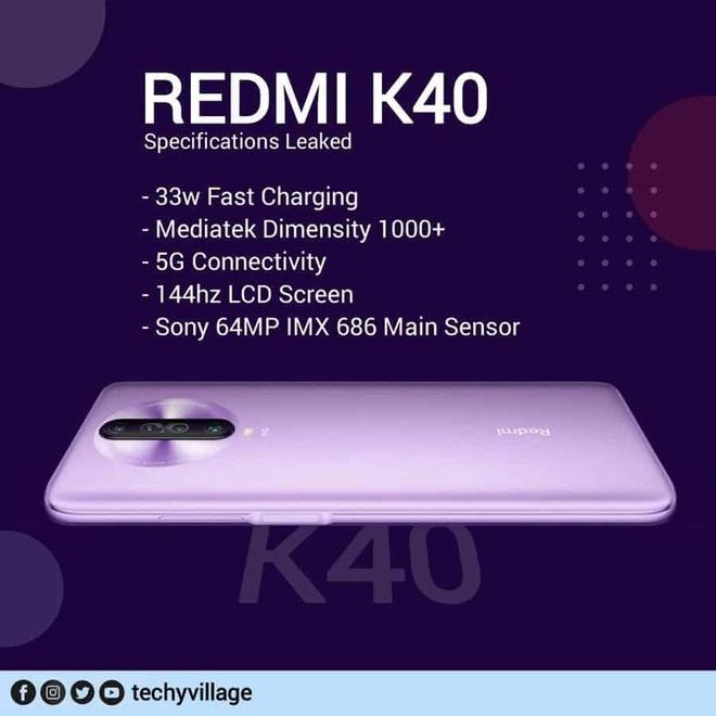 Redmi K40 lộ cấu hình khủng: Màn hình 144Hz, chip Dimensity 1000+, hỗ trợ 5G, sạc nhanh 33W - Ảnh 1.