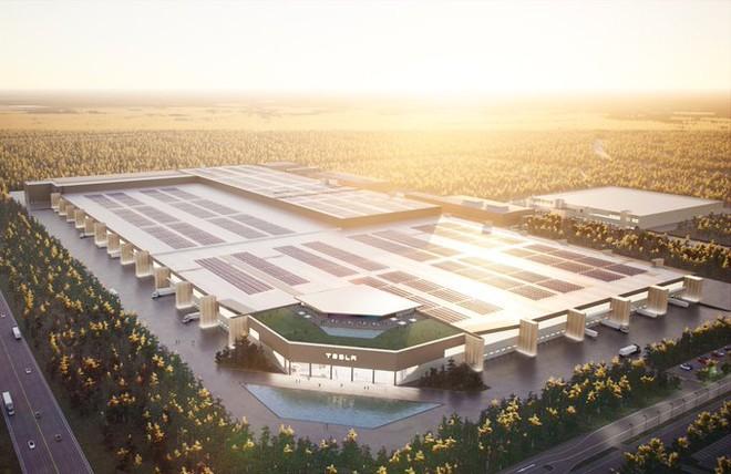 Elon Musk lần đầu tiết lộ hình ảnh nhà máy Gigafactory tại Đức, đẹp không khác gì resort 5 sao, có cả hồ bơi trên mái nhà - Ảnh 1.