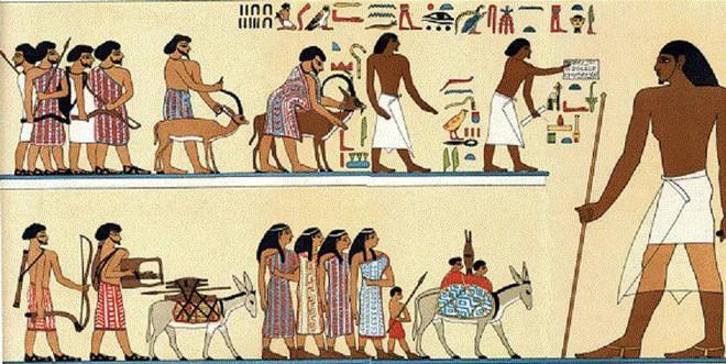 Những người Hyksos ăn mặc sặc sỡ khác hẳn người Ai Cập cổ đại.