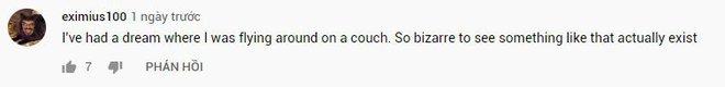 """Thanh niên """"chill"""" nhất năm: Nhảy dù bằng ghế sofa, ngồi giữa không trung xem Tom & Jerry như không có gì xảy ra - Ảnh 6."""