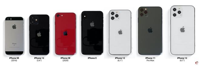 So sánh kích thước 4 mẫu iPhone 12 với iPhone đời cũ: Bản tiêu chuẩn 5.4 inch còn nhỏ hơn cả iPhone SE 2020 - Ảnh 2.