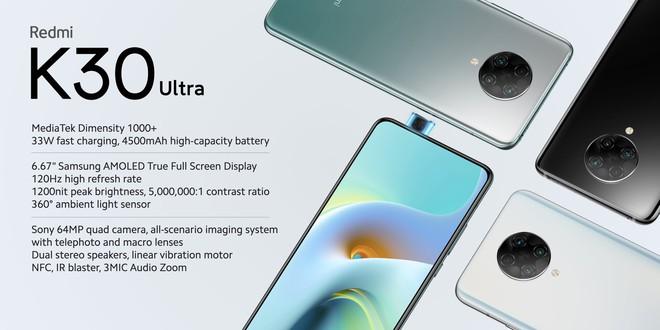 Redmi K30 Ultra ra mắt: Thiết kế không đổi, màn hình AMOLED 120Hz, chip MediaTek Dimensity 1000 , 4 camera, giá từ 6.7 triệu đồng - Ảnh 1.