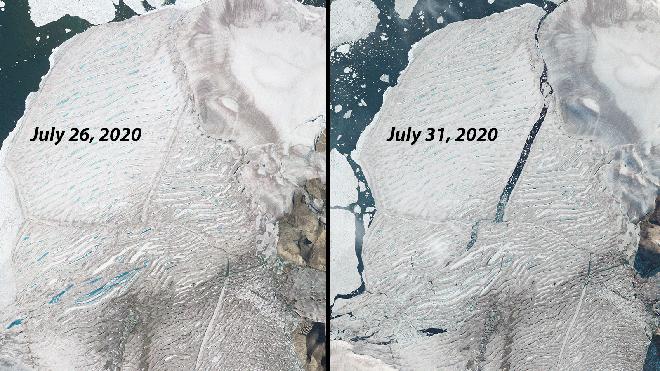 Hình ảnh vệ tinh cho thấy những ngày cuối cùng của thềm băng duy nhất còn sót lại ở Canada trước khi biến mất - Ảnh 2.