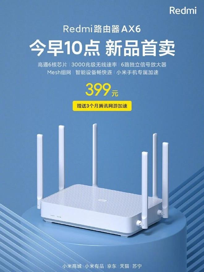 Redmi ra mắt router Wi-Fi 6 AX6: 6 ăng-ten, hỗ trợ mesh, băng tần kép, giá 1.3 triệu đồng - Ảnh 1.