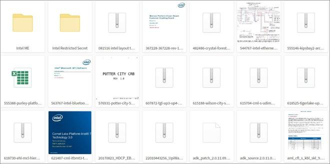 Ảnh chụp màn hình một số tài liệu bị rò rỉ của Intel