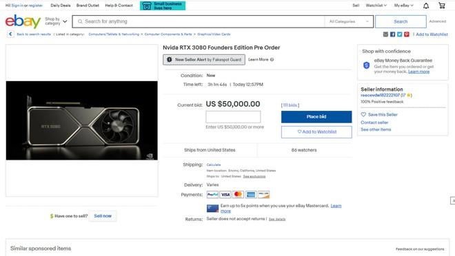 Dân tình xếp hàng dài chờ mua RTX 3080 của Nvidia nhưng nó đã cháy hàng ở mọi nơi, giá bán lại trên eBay lên tới 70.000 USD - Ảnh 4.