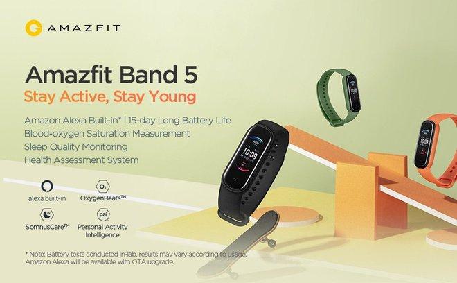 Xiaomi ra mắt Amazfit Band 5: Đo Oxy trong máu như Apple Watch Series 6, giá 1 triệu đồng - Ảnh 1.