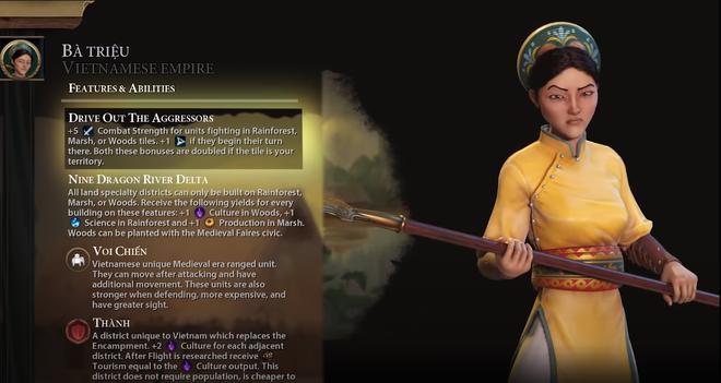 Nữ tướng Bà Triệu và Việt Nam xuất hiện trong game chiến thuật đình đám Civilization 6, sở hữu kĩ năng rất bá đạo - Ảnh 2.