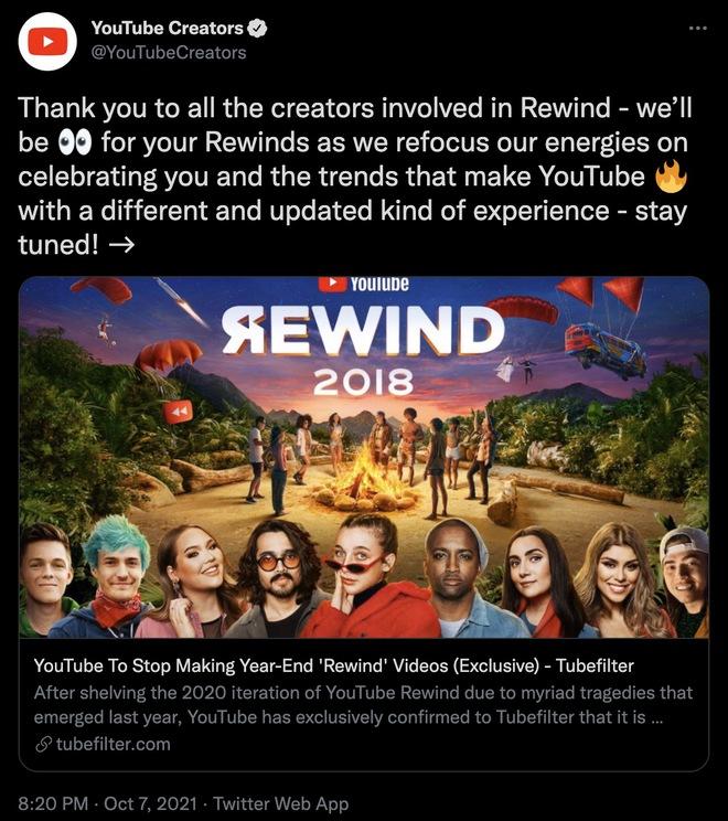 Dính dớp nặng, YouTube huỷ bỏ dự án YouTube Rewind sau chặng đường 10 năm - Ảnh 1.