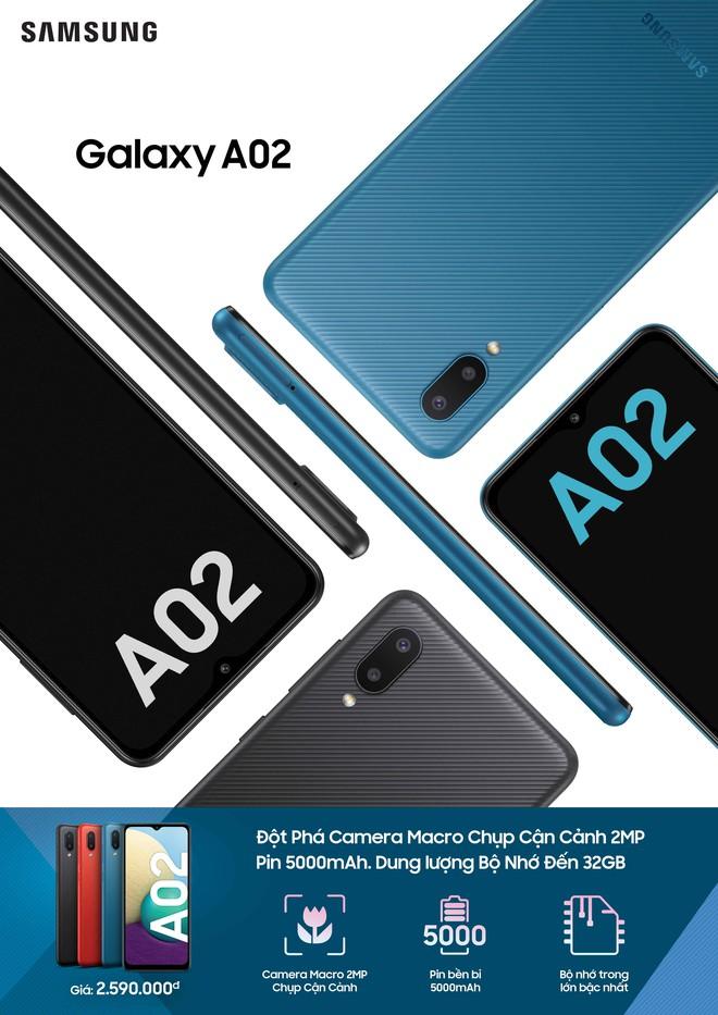 Samsung ra mắt Galaxy A02: Chip MediaTek, camera kép, pin 5000mAh, giá 2.59 triệu đồng - Ảnh 1.