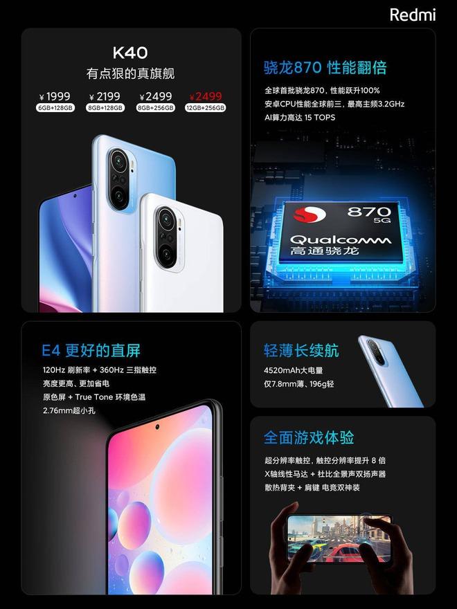 Redmi K40 series ra mắt: Snapdragon 870/888, màn hình 120Hz, giá từ 7.1 triệu đồng - Ảnh 2.