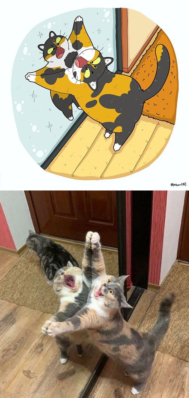 [Chùm ảnh vui] Khi ảnh meme của các boss mèo được vẽ lại siêu đáng yêu khiến ai xem xong cũng phải mỉm cười - Ảnh 2.