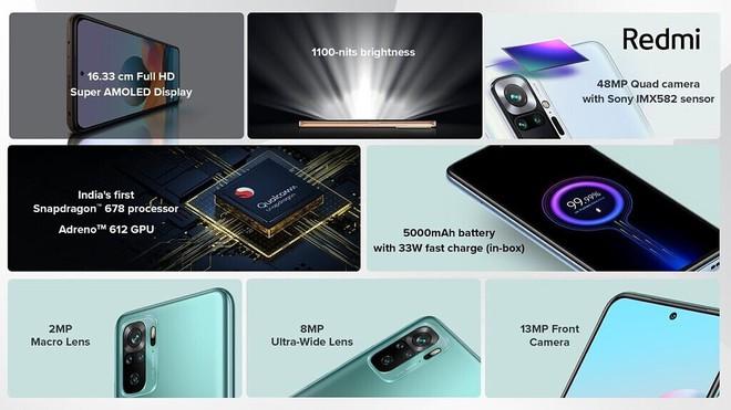 Redmi Note 10 series ra mắt: Snapdragon 678/732G, màn hình AMOLED 120Hz, camera lên tới 108MP, pin 5000mAh, giá chỉ từ 3.8 triệu đồng - Ảnh 3.