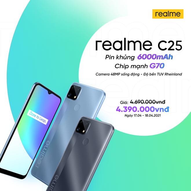 Realme C25 ra mắt tại VN: Thiết kế trẻ trung, cụm 3 camera 48MP, pin khủng 6000mAh, giá từ 4.69 triệu đồng - Ảnh 6.