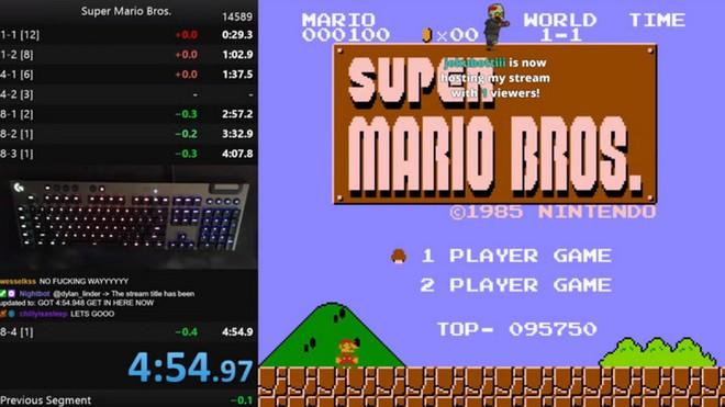 """Game thủ """"phá đảo"""" Super Mario Bros nhanh nhất với thời gian chưa đầy 4 phút 55 giây - Ảnh 1."""
