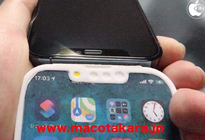 Mô hình iPhone 13 Pro lộ diện với rãnh tai thỏ nhỏ hơn, vị trí loa thoại và camera selfie thay đổi - Ảnh 1.