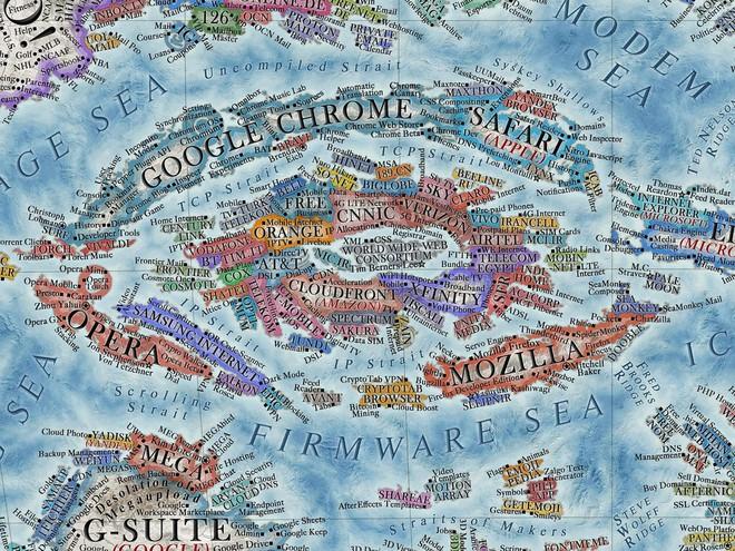 Nhà thiết kế tạo bản đồ Internet với 3.000 trang web là các quốc gia - Ảnh 2.