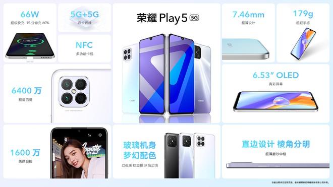 Honor Play 5 và Play 5T ra mắt: Màn hình OLED, chip Dimensity 800U, sạc siêu nahnh 66W, giá 7.5 triệu đồng - Ảnh 3.