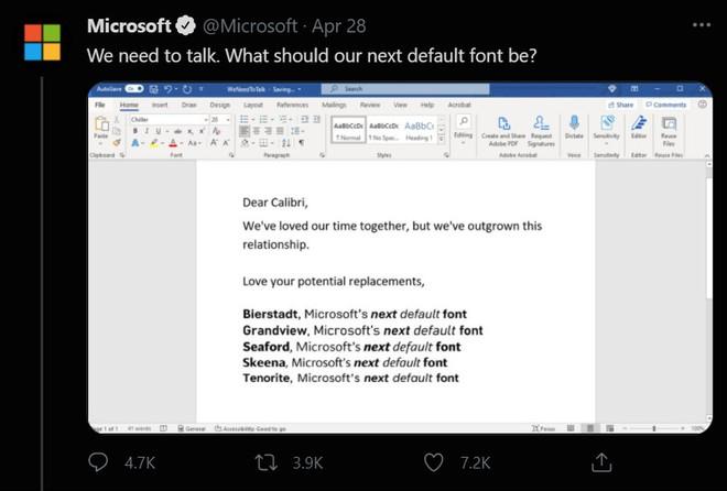 Tại sao Microsoft muốn thay đổi phông chữ mặc định cho bộ công cụ văn phòng Microsoft Office? - Ảnh 1.