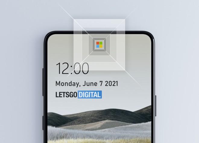 Điện thoại Android tương lai của Microsoft sẽ có camera ẩn dưới logo của máy - Ảnh 1.