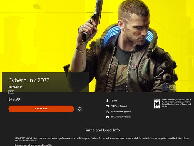 Cyberpunk 2077 được phép quay lại PlayStation Store, Sony khuyên đừng mua vội mà hãy cân nhắc - Ảnh 1.