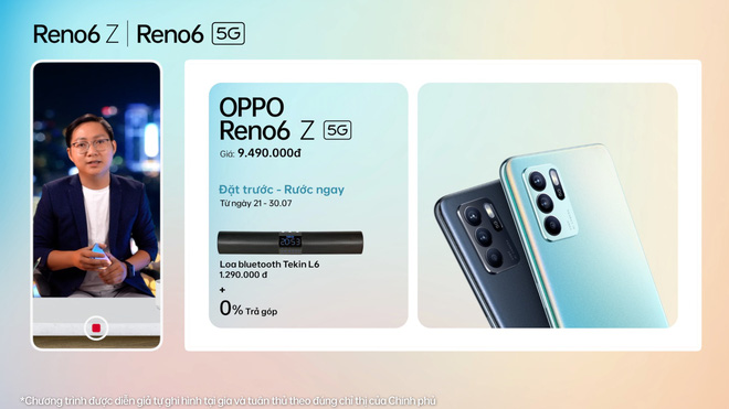 OPPO Reno6/6 Z 5G chính thức ra mắt: Thiết kế Reno Glow ấn tượng, camera nâng cấp, sạc nhanh VOOC đủ cả, giá từ 9.49 triệu - Ảnh 6.