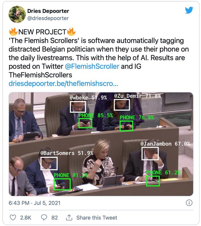 Trí tuệ nhân tạo với khả năng phát hiện chính trị gia dùng điện thoại trong buổi họp, lập tức báo lên Twitter cho công chúng biết - Ảnh 1.