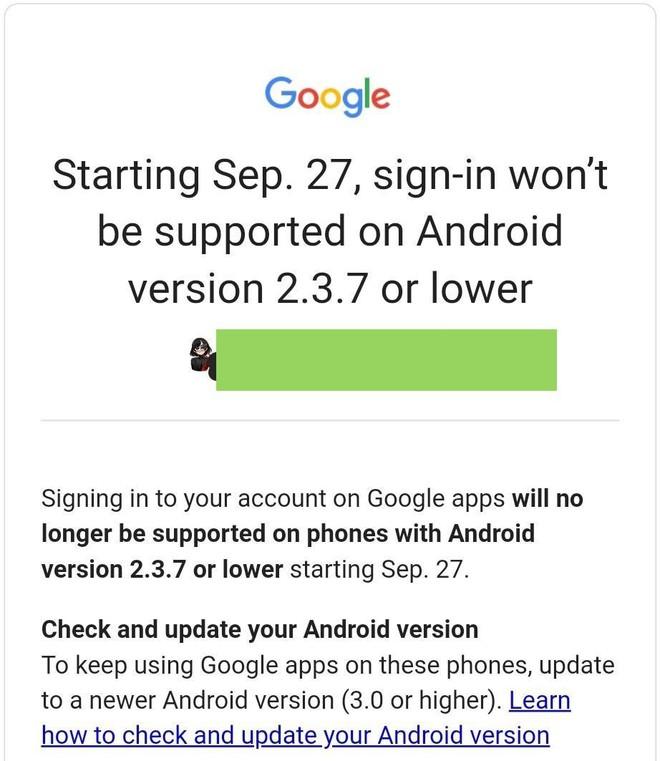 Google dừng hỗ trợ đăng nhập và các ứng dụng trên các thiết bị Android thấp hơn 3.0 - Ảnh 1.