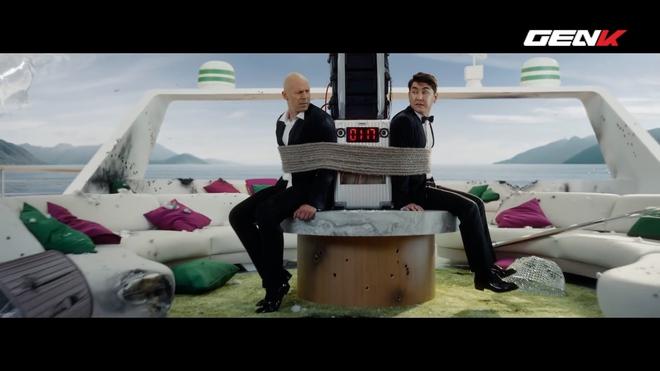 [Video] Nhà mạng di động Nga chơi lớn: thuê tài tử Bruce Willis đóng phim quảng cáo chết cười, chống chỉ định xem khi đang ăn cơm hay uống nước! - Ảnh 4.