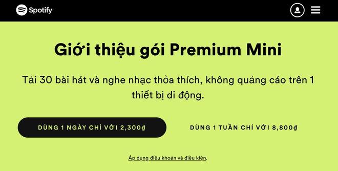 Spotify ra mắt gói Premium Mini: Nghe nhạc hàng ngày hoặc hàng tuần với giá chỉ từ 2,300 đồng - Ảnh 1.