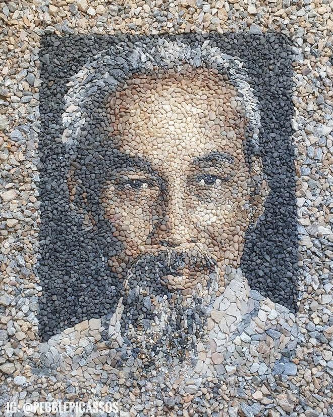 Ngắm những bức tranh nghệ thuật đặc sắc khảm bằng sỏi cuội của nghệ nhân Justin Bateman, có cả tranh về chủ tịch Hồ chí Minh - Ảnh 4.