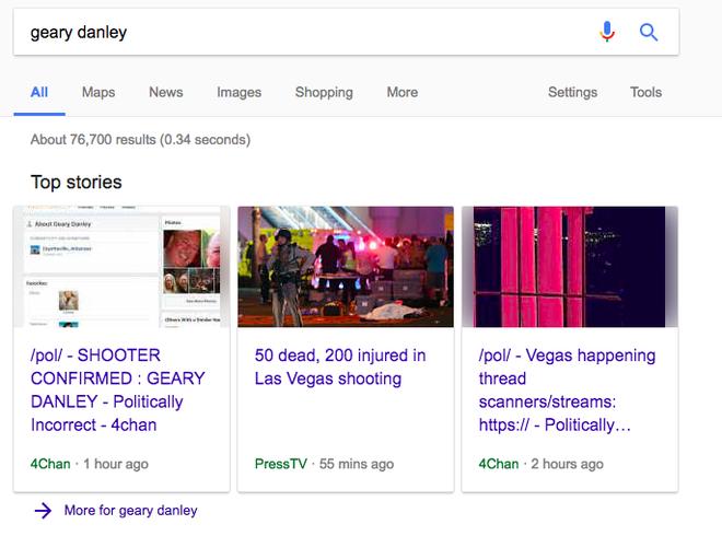 Hai trong bốn kết quả khi tìm kiếm từ khóa Geary Danley đến từ 4chan.