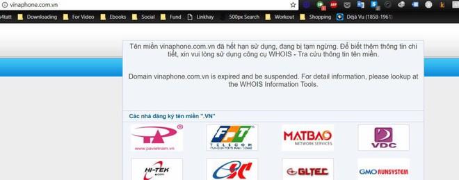 Trang web chính thức của Vinaphone không thể truy cập và có thông báo hết hạn tên miền.