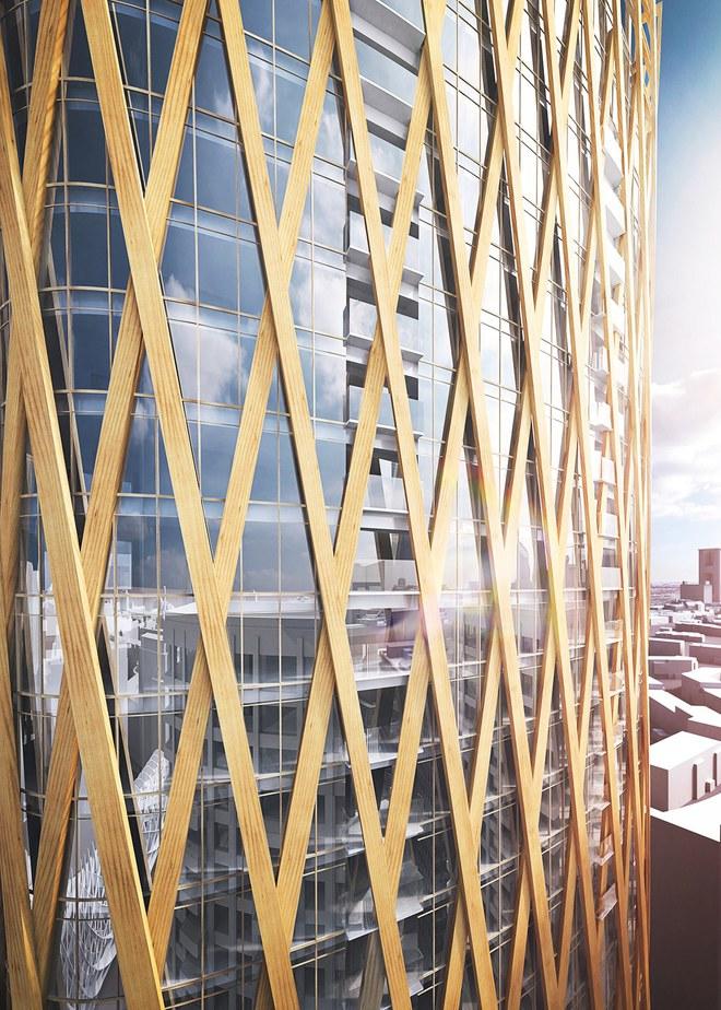 Tòa tháp bằng kính này được bao bọc bởi một lớp gỗ thành hàng rào.