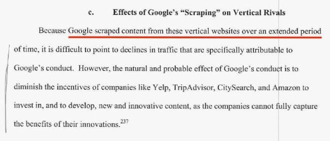 Dòng gạch chân cho biết, Google đã thu thập nội dung từ các website đối thủ trong một thời gian dài.