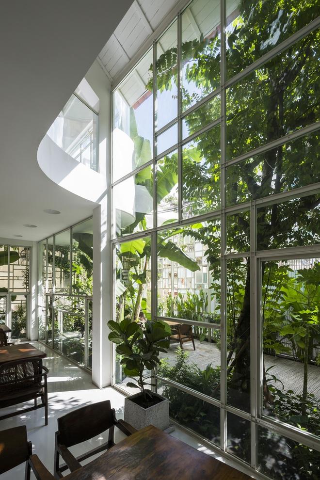 Khoảng không gian phòng khách và phòng ăn được open ra mảnh vườn trước nhà, cửa kính sát sàn được tận dùng, nhằm xóa nhòa khoảng cách giữa trong và ngoài.