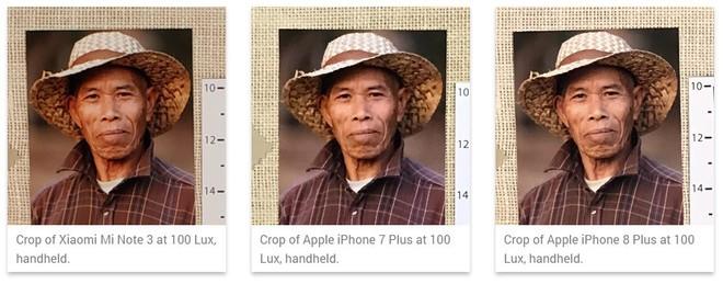 So sánh ảnh crop từ Mi Note 3 với iPhone 7 Plus và iPhone 8 Plus ở độ sáng thông thường (100 lux trong phòng thí nghiệm).