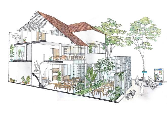 Mặt cắt concept của T house. Các không gian đều được đan cài hài hòa, luôn tràn đầy ánh sáng tự nhiên, đảm bảo đối lưu không khí và cây xanh.