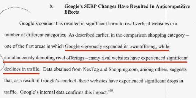 Dòng gạch chân cho biết, Google đang tăng hạng cho các kết quả tìm kiêm liên quan đến sản phẩm của họ, đồng thời hạ bậc của các đối thủ cùng ngành.