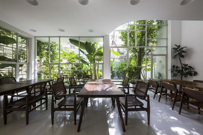 Các loại cây đặc trưng của Việt Nam, hay vùng nhiệt đới như chuối cảnh, chuối cây, khế, xoan... đều được trồng tại mảnh vườn nhỏ nhắn này.