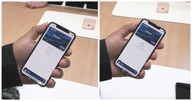 Trước tiên bạn phải mở ứng dụng thanh toán để kích hoạt Face ID trước (bên trái), và sau đó đưa lại gần máy quẹt thẻ, cho tới khi biểu tượng ở trung tâm màn hình thay đổi, để thanh toán.