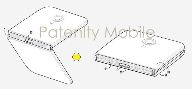 Bằng sáng chế về một smartphone gập của Samsung.